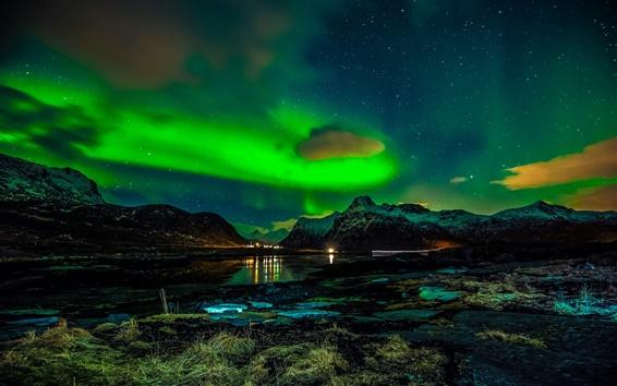 Fond d'écran Norvège, îles Lofoten, montagnes, hiver, nuit, lumières du nord