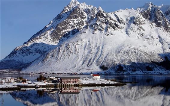壁紙 ノルウェー、ロフォーテン、山、雪、冬、ベイ、家