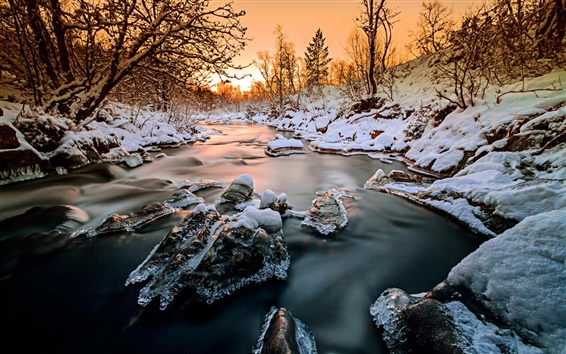 Wallpaper Norway, forest, trees, river, snow, ice, winter, sunset