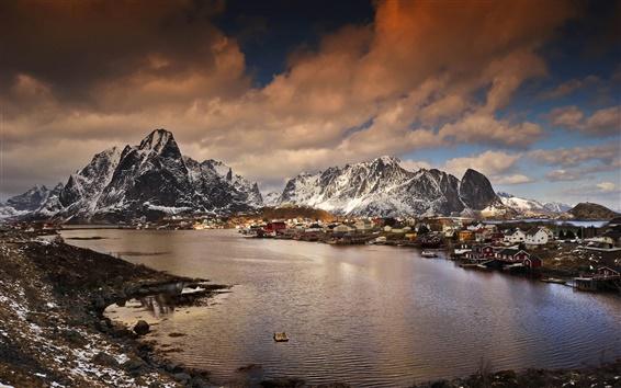 Fond d'écran Norvège, montagnes, baie, village, hiver, crépuscule