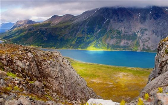 Fondos de pantalla Noruega, montañas, mar, nubes, mañana