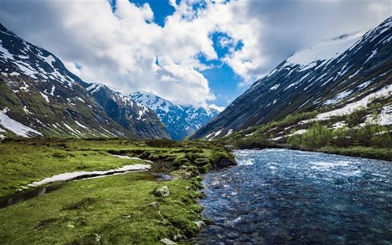 Fond d'écran Norvège, rivière, montagnes, nuages