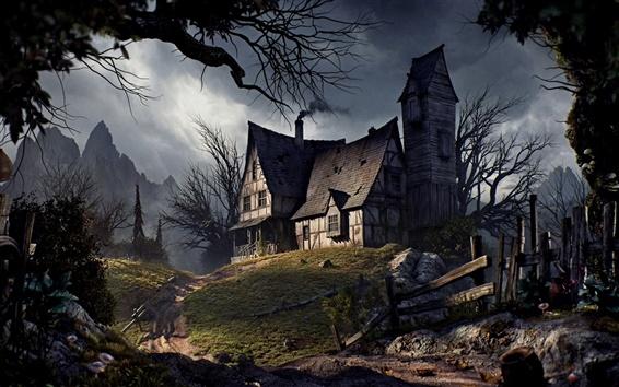 Обои Старый дом, Хэллоуин, дорога, забор, деревья, горы