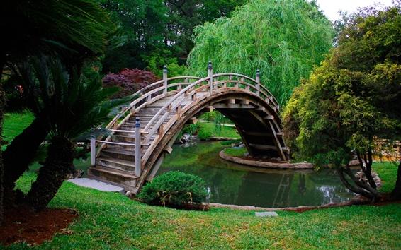 Papéis de Parede Park, árvores, arco de madeira da ponte, água, grama