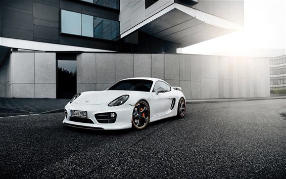 Wallpaper Porsche Cayman white supercar front view