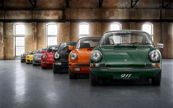 Обои Porsche модельный ряд, семь цветов автомобилей