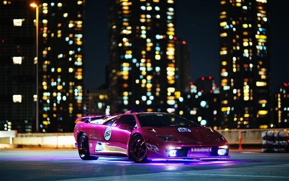 Обои Фиолетовый Lamborghini суперкар, ночь, здания, огни