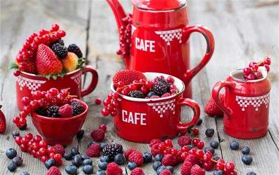 Wallpaper Red style, raspberries, blueberries, strawberries, blackberries, red berries, crockery