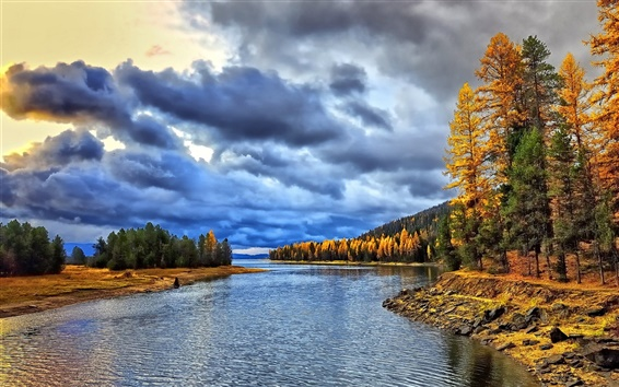 Wallpaper River, forest, clouds, morning, autumn
