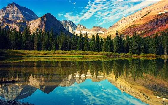 Wallpaper Rocky Mountains, Glacier National Park, lake, forest, water reflection