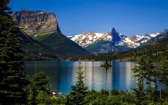 Fond d'écran Saint Mary Lake, à l'Île oie sauvage, le parc national Glacier, au Montana