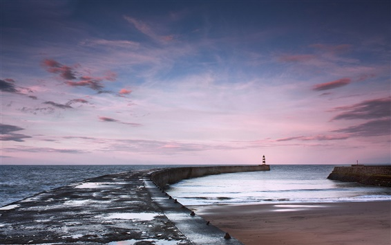 Wallpaper Sea, pier, lighthouse