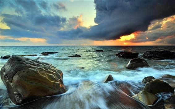 Обои Море, камни, небо, облака, закат