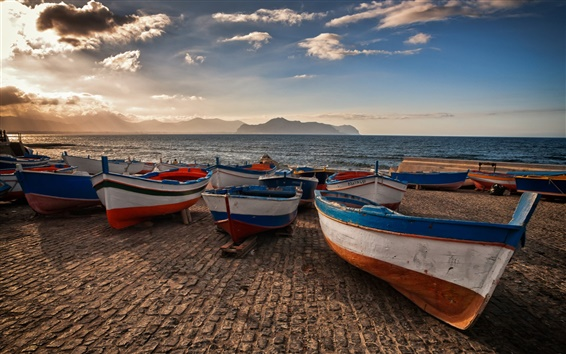 Wallpaper Sicily, Italy, lake, pier, boats, mountains