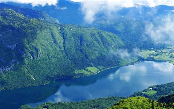 Обои Словения, горы, лес, озеро, небо, облака, туман, утро