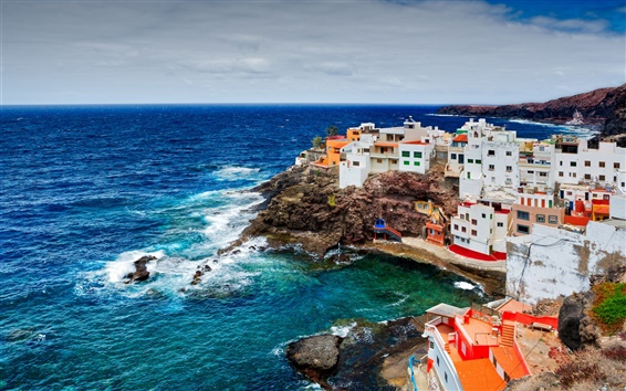 Wallpaper Spain, Canary Islands, ocean, rocks, cliffs, coast, houses, buildings