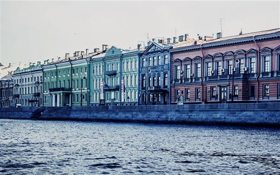 壁紙 サンクトペテルブルク、ロシア、運河、川、家