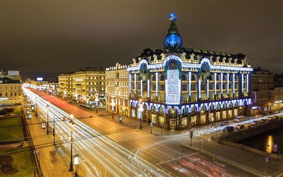 Wallpaper St. Petersburg, Russia, night, lights, houses, buildings, street