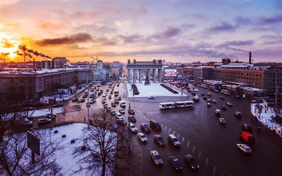 Papéis de Parede São Petersburgo, Rússia, rua, tráfego, edifícios, pôr do sol