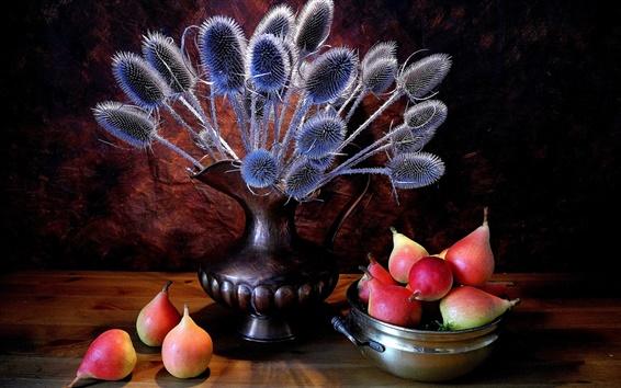 Wallpaper Still life close-up, pears, fruit, plant, jug