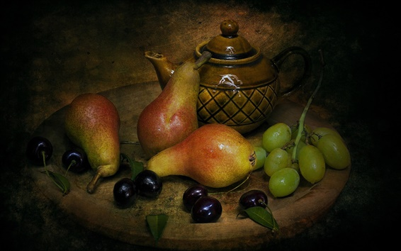 Wallpaper Still life, pears, cherries, grapes, tea