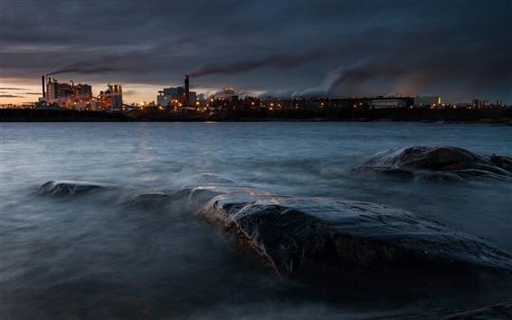Wallpaper Sweden, lake Vanern, Skoghall town, factory, lights, dark, evening