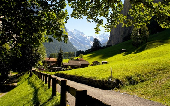 Wallpaper Switzerland, Lauterbrunnen, Jungfrau, city, mountains, the Alps