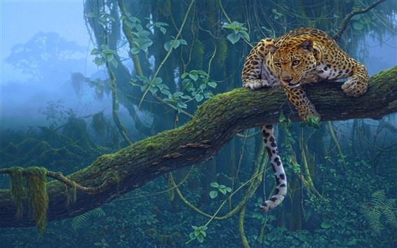 Wallpaper Tropical animals, jaguar, predator, tree