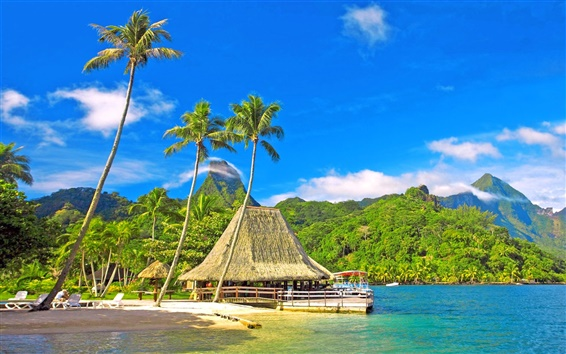 Wallpaper Tropical scenery, coast, palm trees, huts, bungalows, mountains, blue sky