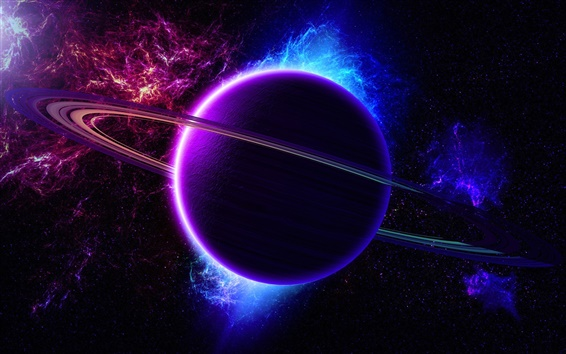 Wallpaper Universe, nebula, planet, ring, light, purple blue color