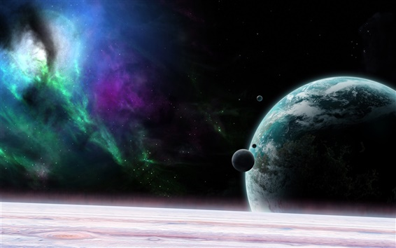 Wallpaper Universe, planet, satellite, stars