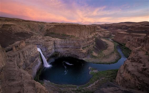 Wallpaper Waterfalls, river, canyon, morning, dawn