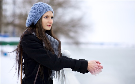Wallpaper Winter beautiful girl, blue hat