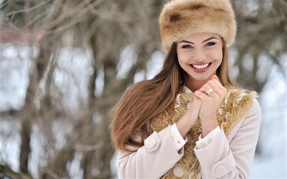 배경 화면 겨울 소녀 행복한 미소