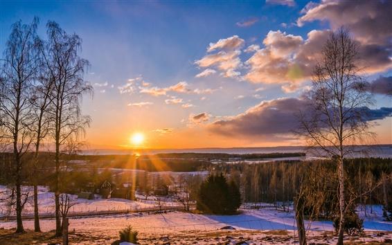 Papéis de Parede Inverno, aldeia, floresta, estradas, árvores, pôr do sol