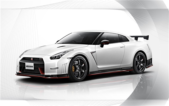 Обои 2015 Nissan GT-R Nismo белый автомобиль