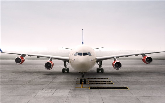 Wallpaper Airbus A340 aircraft front view, airport