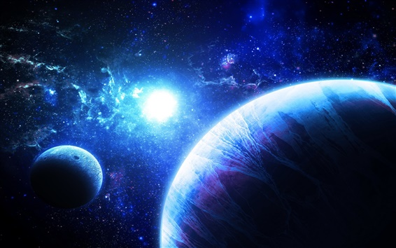 Wallpaper Art, fantasy planets, stars, galaxies