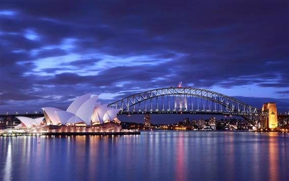 Papéis de Parede Austrália, Sydney Opera House, noite, ponte, luzes, azul, mar, céu, nuvens