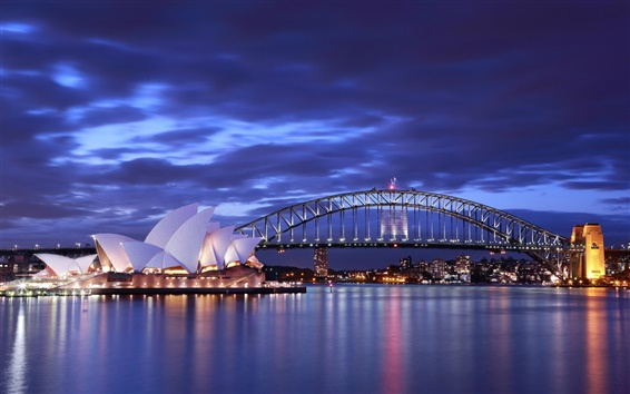 Wallpaper Australia, Sydney Opera House, night, bridge, lights, blue, sea, sky, clouds