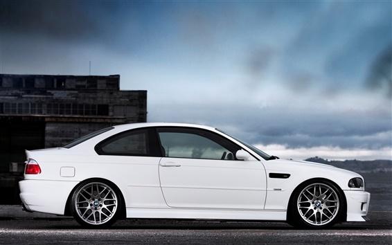 Fond d'écran BMW M3 E46 voiture blanche vue de côté