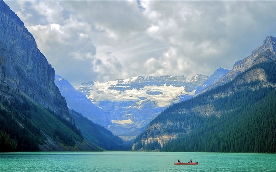 Wallpaper Banff National Park, lake, mountains, boat, clouds