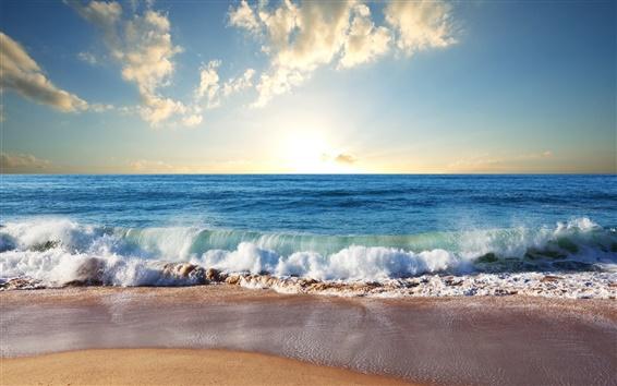 壁紙 ビーチ、砂浜、青い海、波、雲、太陽