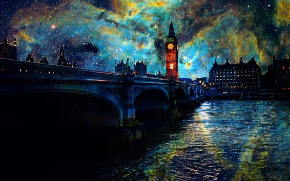 Wallpaper Beautiful art pictures, stars, night, London, bridge, river, lights