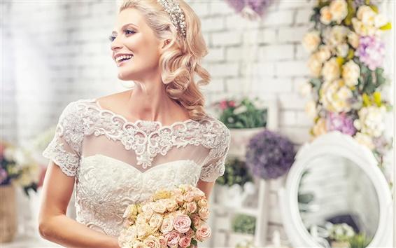 Wallpaper Beautiful bride, wedding bouquet, joy