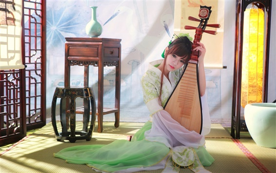 Wallpaper Beautiful classical Chinese girl playing the pipa