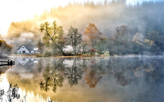 Wallpaper Beautiful painting, house, forest, lake, nature, morning, fog