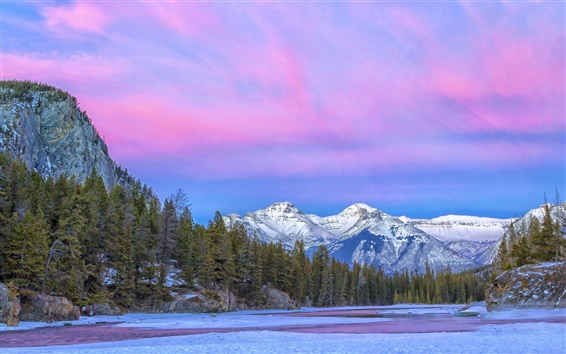 Wallpaper Canada, National Park, river, mountain, clouds, purple sky, winter