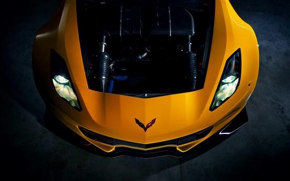 Wallpaper Chevrolet Corvette Stingray yellow supercar front view