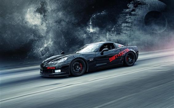 壁紙 シボレーコルベット黒スーパーカー、創造的なデザイン